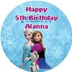 Personalised Edible Frozen Elsa Anna Olaf Cake Topper